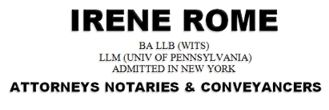 Irene Rome (Johannesburg, Norwood) Attorneys / Lawyers / law firms in Johannesburg Central (South Africa)