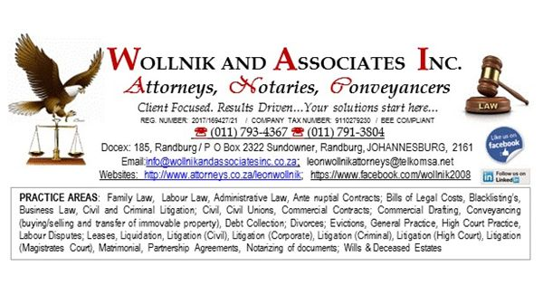 Wollnik and Associates Incorporated (Randburg) Attorneys / Lawyers / law firms in  (South Africa)